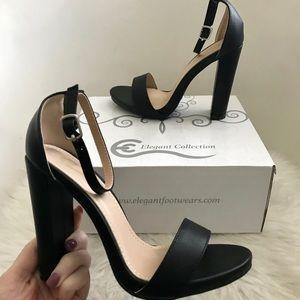Shoes - Black Heel Strap Sandals